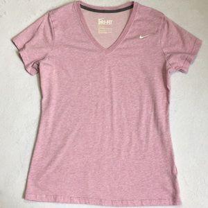 Nike Womens Tee Shirt Heather Pink Size Large